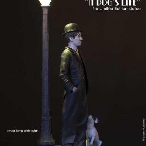 Charlie Chaplin A Dog's Life con lampione led - profilo