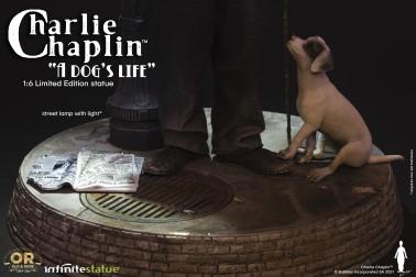 Scultura di Charlie Chaplin A Dog's Life con dettaglio tombino2
